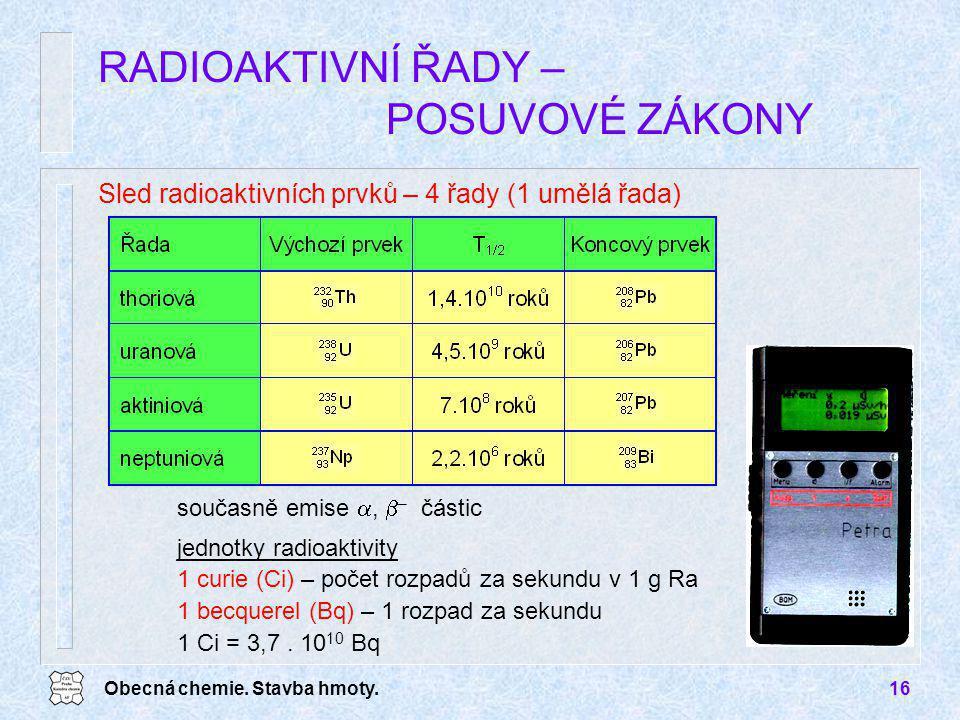 Obecná chemie. Stavba hmoty.16 RADIOAKTIVNÍ ŘADY – POSUVOVÉ ZÁKONY Sled radioaktivních prvků – 4 řady (1 umělá řada) současně emise ,  – částic jedn