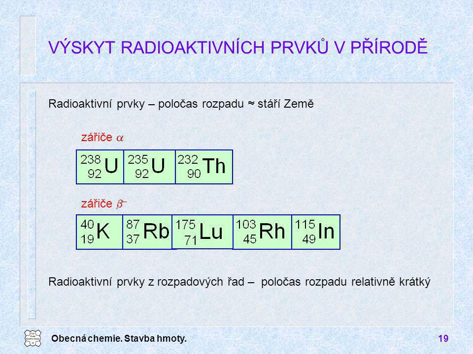 Obecná chemie. Stavba hmoty.19 VÝSKYT RADIOAKTIVNÍCH PRVKŮ V PŘÍRODĚ Radioaktivní prvky – poločas rozpadu  stáří Země zářiče  zářiče  – Radioaktivn
