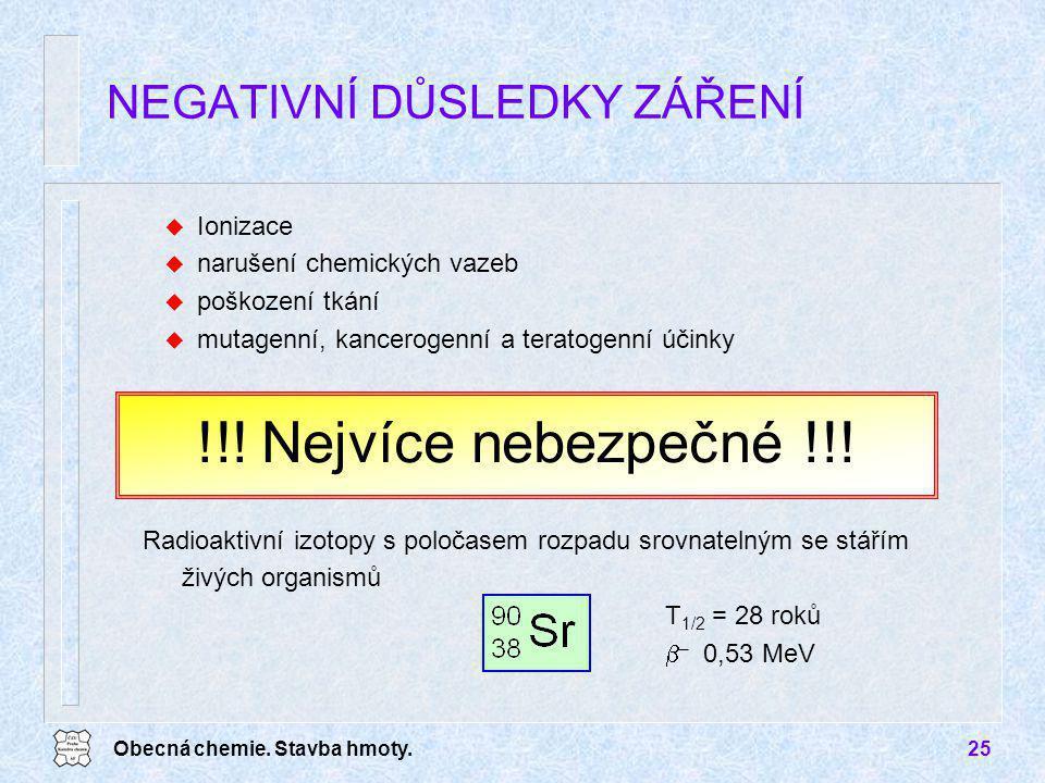 Obecná chemie. Stavba hmoty.25 u Ionizace u narušení chemických vazeb u poškození tkání u mutagenní, kancerogenní a teratogenní účinky NEGATIVNÍ DŮSLE