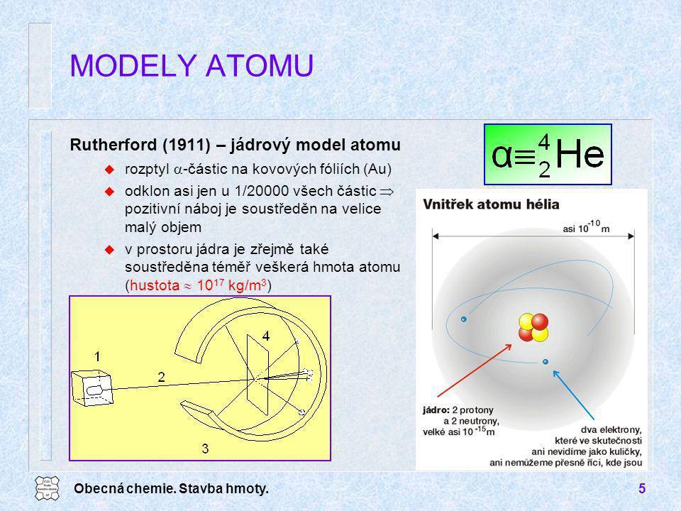Obecná chemie. Stavba hmoty.5 Rutherford (1911) – jádrový model atomu u rozptyl  -částic na kovových fóliích (Au) u odklon asi jen u 1/20000 všech čá