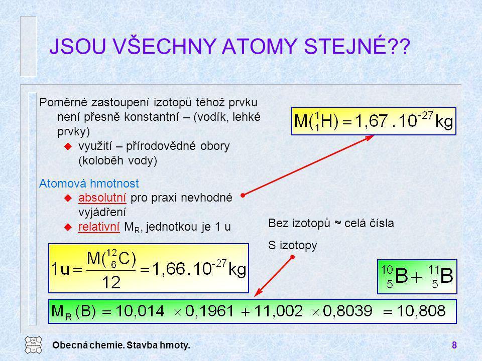 Obecná chemie. Stavba hmoty.8 Poměrné zastoupení izotopů téhož prvku není přesně konstantní – (vodík, lehké prvky) u využití – přírodovědné obory (kol