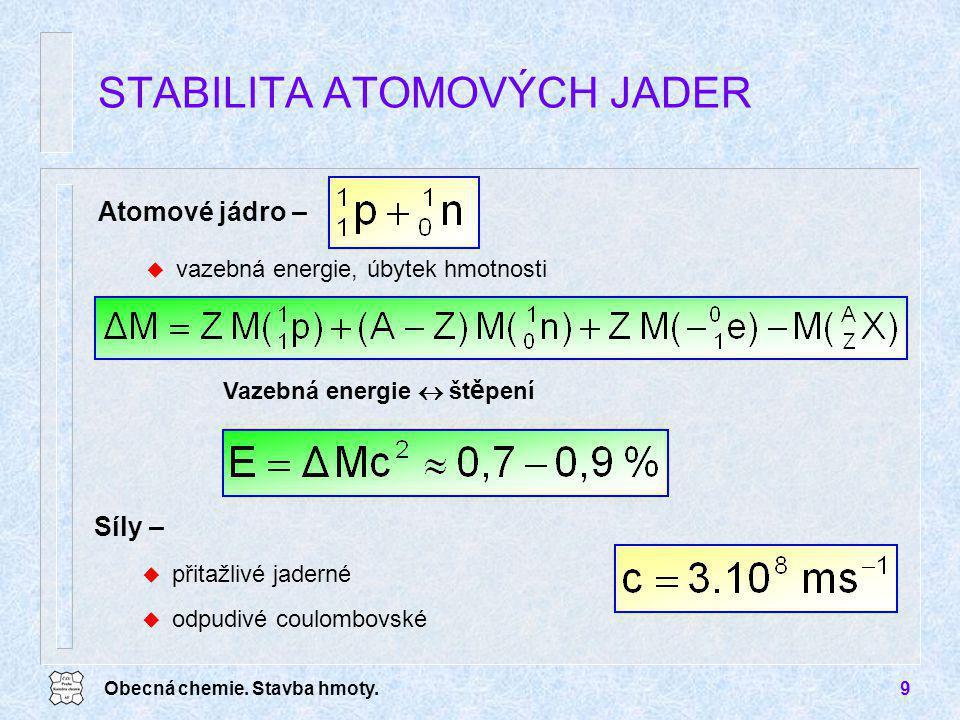 Obecná chemie. Stavba hmoty.9 Atomové jádro – u vazebná energie, úbytek hmotnosti STABILITA ATOMOVÝCH JADER Síly – u přitažlivé jaderné u odpudivé cou