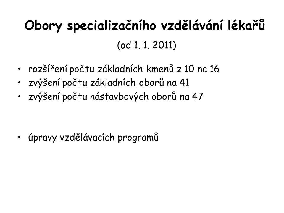 Obory specializačního vzdělávání lékařů (od 1. 1. 2011) rozšíření počtu základních kmenů z 10 na 16 zvýšení počtu základních oborů na 41 zvýšení počtu