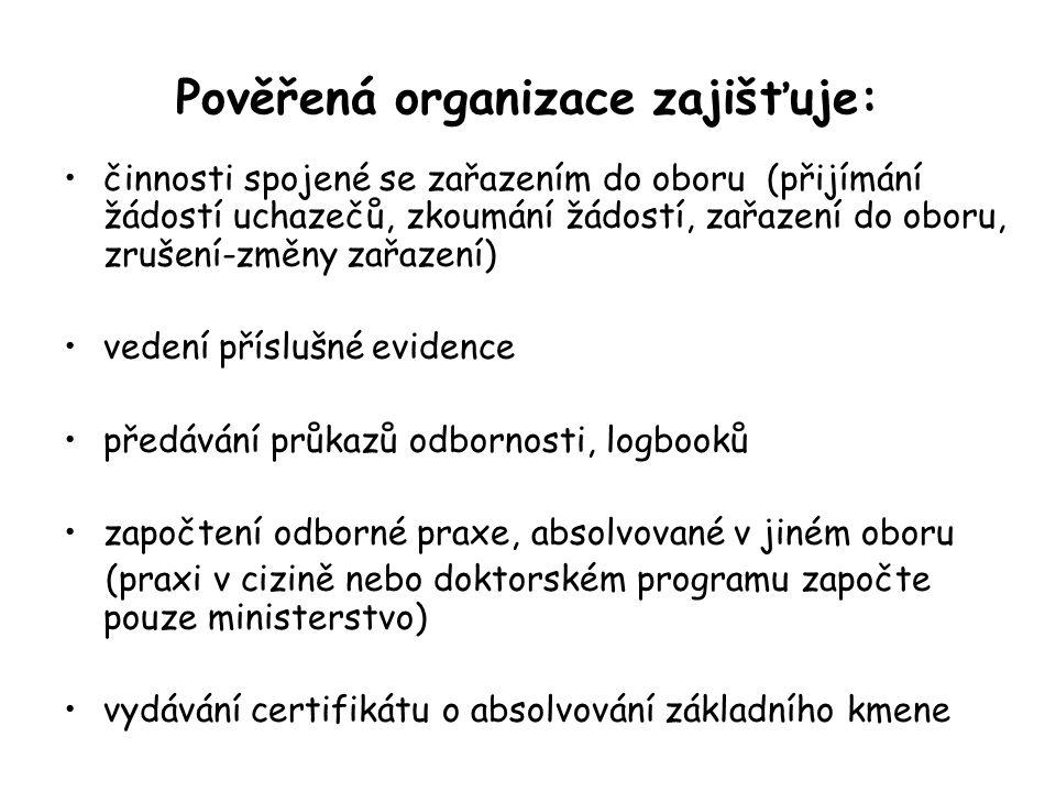Pověřená organizace zajišťuje: činnosti spojené se zařazením do oboru (přijímání žádostí uchazečů, zkoumání žádostí, zařazení do oboru, zrušení-změny zařazení) vedení příslušné evidence předávání průkazů odbornosti, logbooků započtení odborné praxe, absolvované v jiném oboru (praxi v cizině nebo doktorském programu započte pouze ministerstvo) vydávání certifikátu o absolvování základního kmene