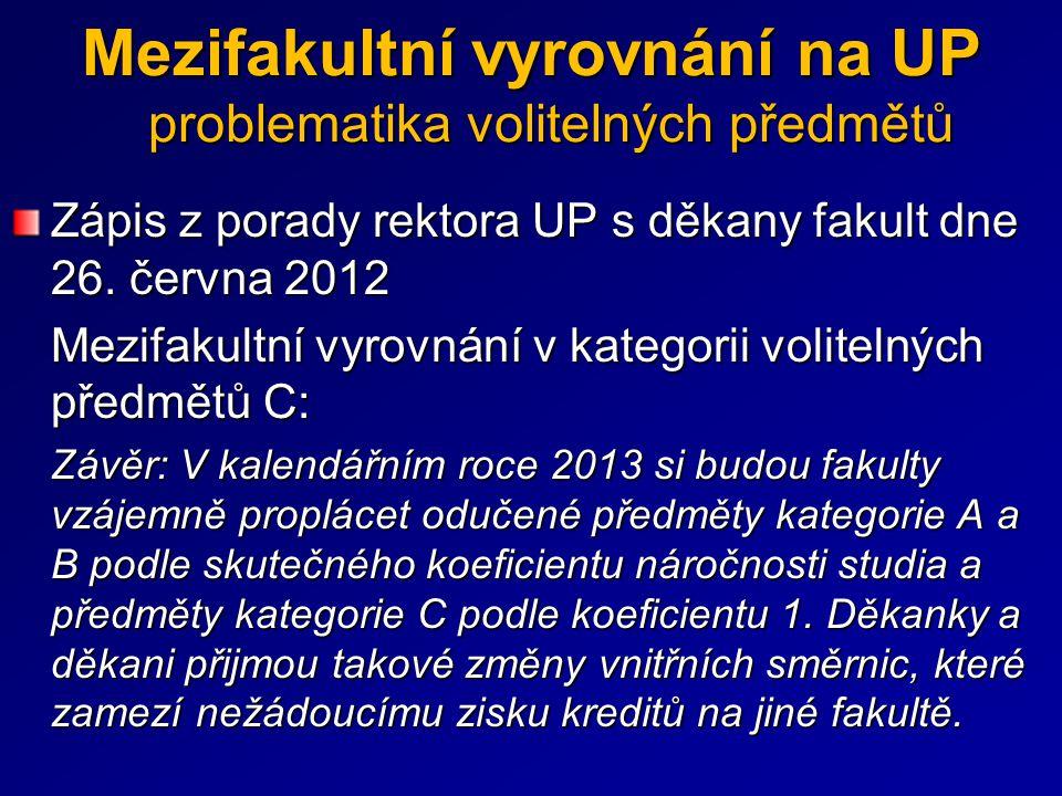 Zápis z porady rektora UP s děkany fakult dne 26. června 2012 Mezifakultní vyrovnání v kategorii volitelných předmětů C: Závěr: V kalendářním roce 201