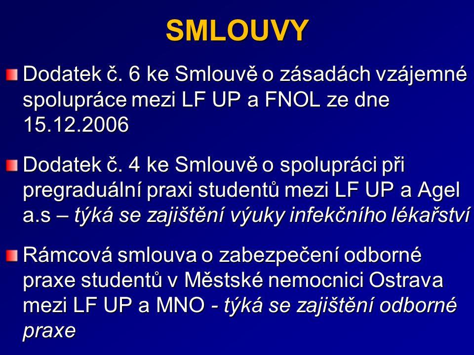 SMLOUVY Dodatek č. 6 ke Smlouvě o zásadách vzájemné spolupráce mezi LF UP a FNOL ze dne 15.12.2006 Dodatek č. 4 ke Smlouvě o spolupráci při pregraduál