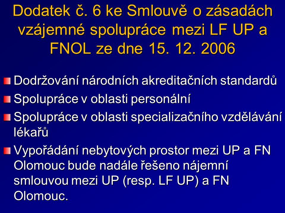 Dodatek č. 6 ke Smlouvě o zásadách vzájemné spolupráce mezi LF UP a FNOL ze dne 15. 12. 2006 Dodržování národních akreditačních standardů Spolupráce v