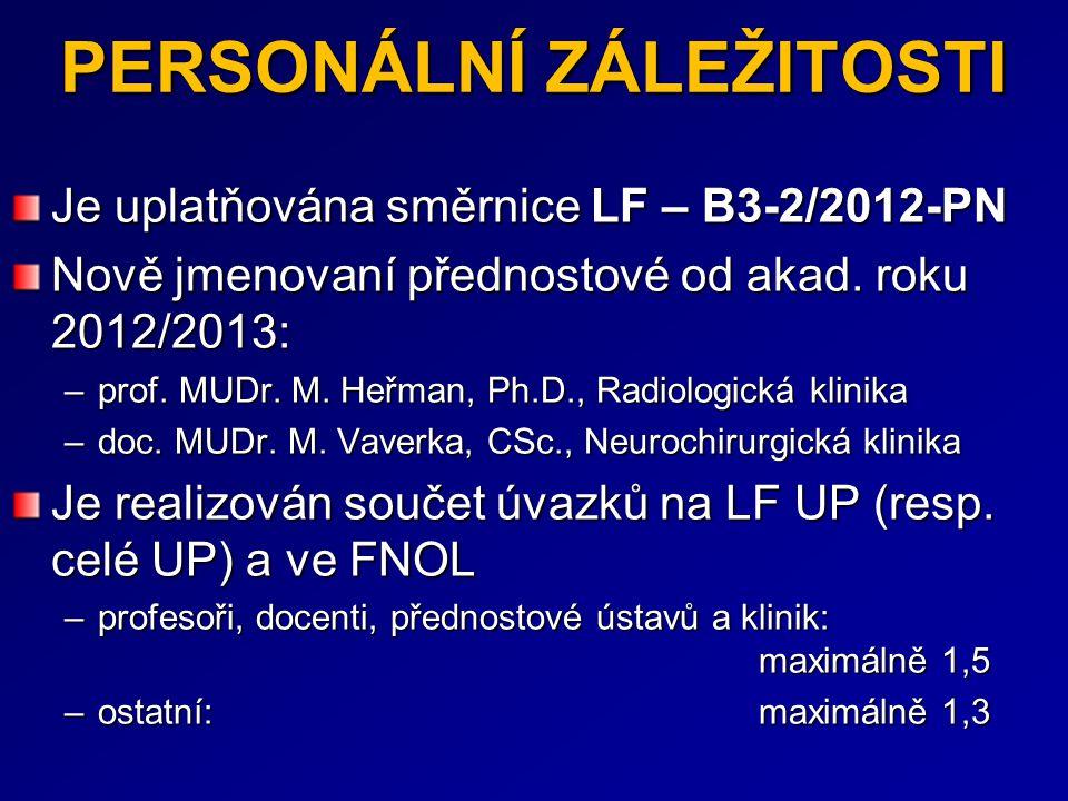 PERSONÁLNÍ ZÁLEŽITOSTI Je uplatňována směrnice LF – B3-2/2012-PN Nově jmenovaní přednostové od akad. roku 2012/2013: –prof. MUDr. M. Heřman, Ph.D., Ra