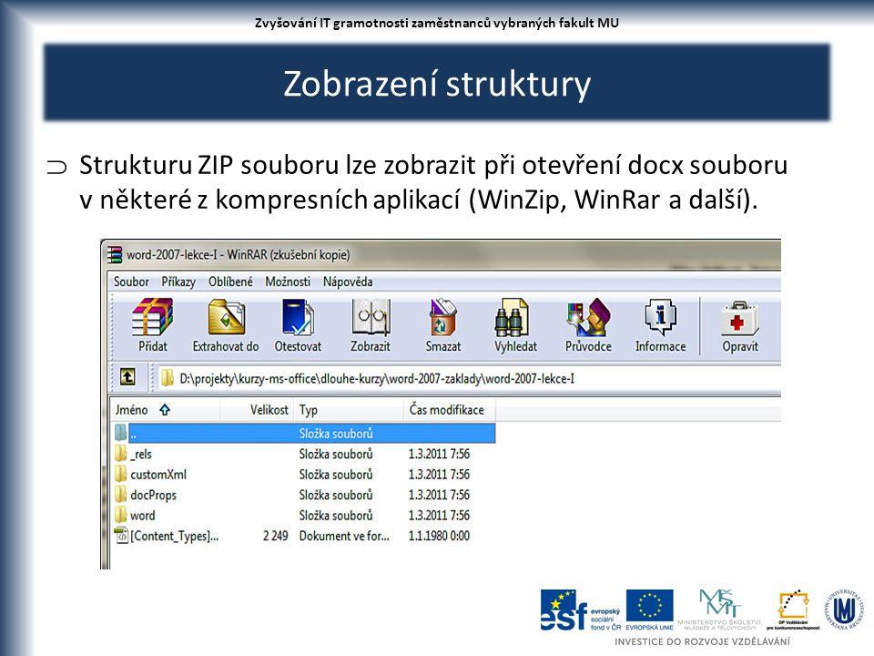 Zobrazení struktury  Strukturu ZIP souboru lze zobrazit při otevření docx souboru v některé z kompresních aplikací (WinZip, WinRar a další). Zvyšován