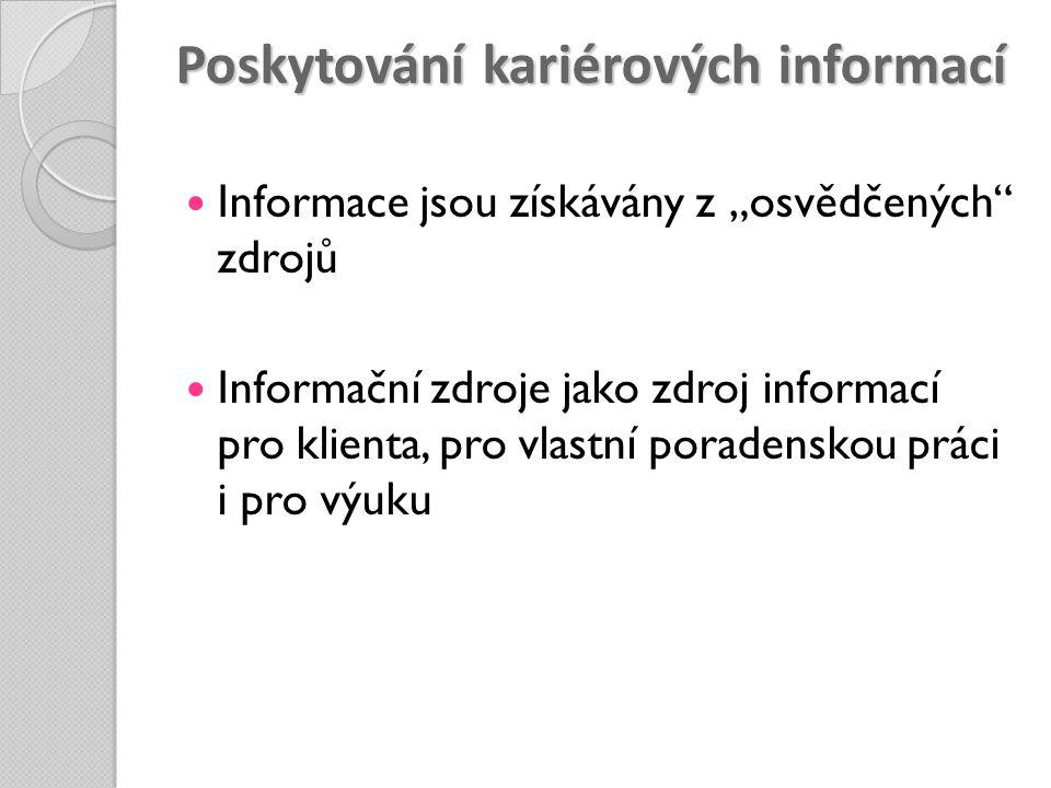 """Poskytování kariérových informací Informace jsou získávány z """"osvědčených"""" zdrojů Informační zdroje jako zdroj informací pro klienta, pro vlastní pora"""