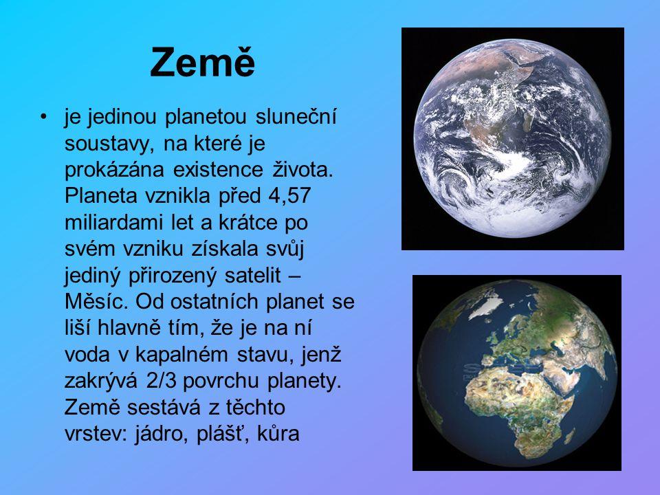 Země je jedinou planetou sluneční soustavy, na které je prokázána existence života. Planeta vznikla před 4,57 miliardami let a krátce po svém vzniku z