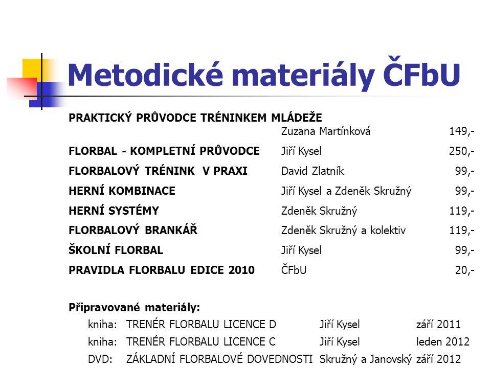 Metodické materiály ČFbU PRAKTICKÝ PRŮVODCE TRÉNINKEM MLÁDEŽE Zuzana Martínková 149,- FLORBAL - KOMPLETNÍ PRŮVODCEJiří Kysel 250,- FLORBALOVÝ TRÉNINK