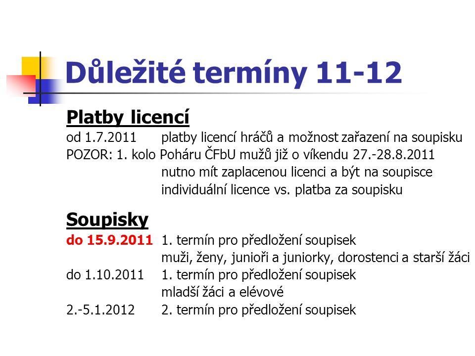 Platby licencí od 1.7.2011platby licencí hráčů a možnost zařazení na soupisku POZOR: 1. kolo Poháru ČFbU mužů již o víkendu 27.-28.8.2011 nutno mít za