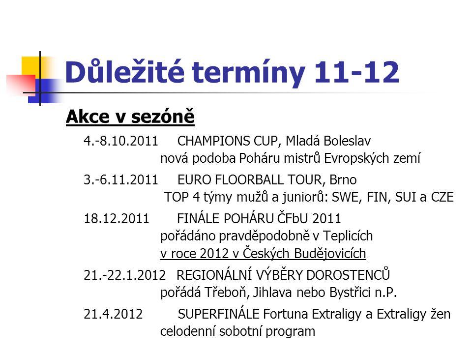 Akce v sezóně 4.-8.10.2011 CHAMPIONS CUP, Mladá Boleslav nová podoba Poháru mistrů Evropských zemí 3.-6.11.2011 EURO FLOORBALL TOUR, Brno TOP 4 týmy m