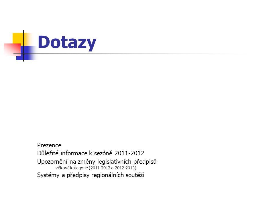 Dotazy Prezence Důležité informace k sezóně 2011-2012 Upozornění na změny legislativních předpisů věkové kategorie (2011-2012 a 2012-2013) Systémy a předpisy regionálních soutěží
