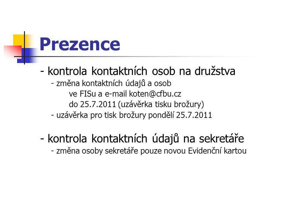Prezence - kontrola kontaktních osob na družstva - změna kontaktních údajů a osob ve FISu a e-mail koten@cfbu.cz do 25.7.2011 (uzávěrka tisku brožury)
