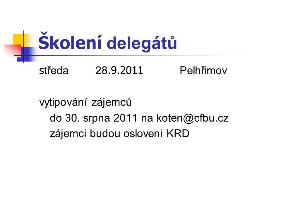 Školení delegátů s tředa28.9.2011 Pelhřimov vytipování zájemců do 30. srpna 2011 na koten@cfbu.cz zájemci budou osloveni KRD