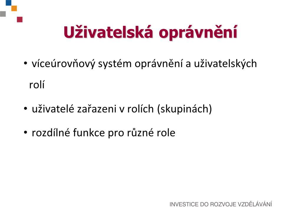 Uživatelská oprávnění víceúrovňový systém oprávnění a uživatelských rolí uživatelé zařazeni v rolích (skupinách) rozdílné funkce pro různé role