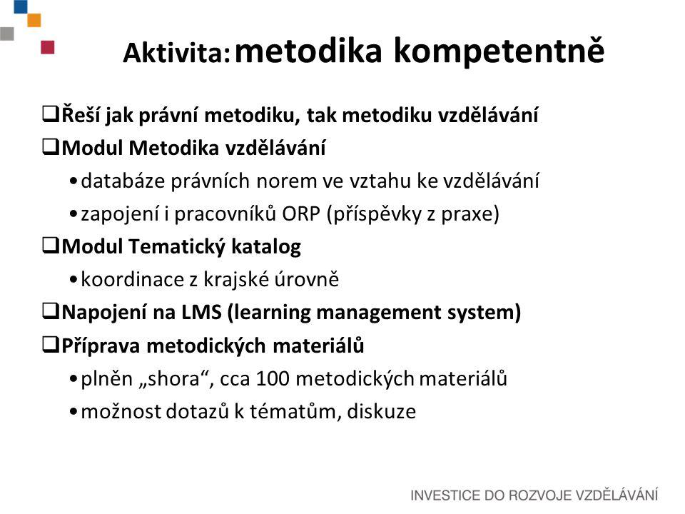 """Aktivita: metodika kompetentně  Řeší jak právní metodiku, tak metodiku vzdělávání  Modul Metodika vzdělávání databáze právních norem ve vztahu ke vzdělávání zapojení i pracovníků ORP (příspěvky z praxe)  Modul Tematický katalog koordinace z krajské úrovně  Napojení na LMS (learning management system)  Příprava metodických materiálů plněn """"shora , cca 100 metodických materiálů možnost dotazů k tématům, diskuze"""