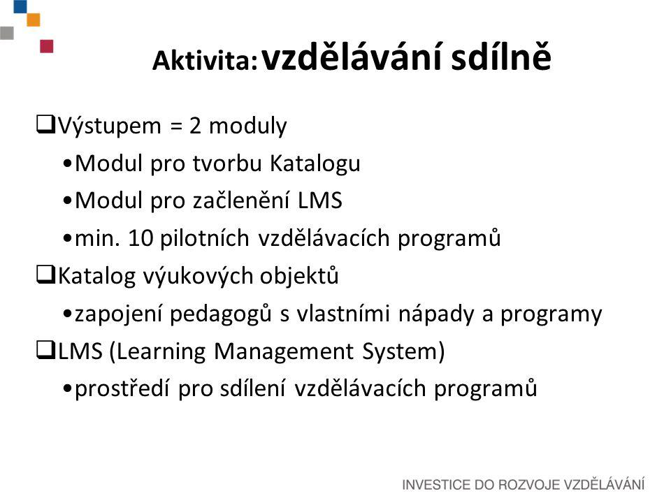 Aktivita: vzdělávání sdílně  Výstupem = 2 moduly Modul pro tvorbu Katalogu Modul pro začlenění LMS min.