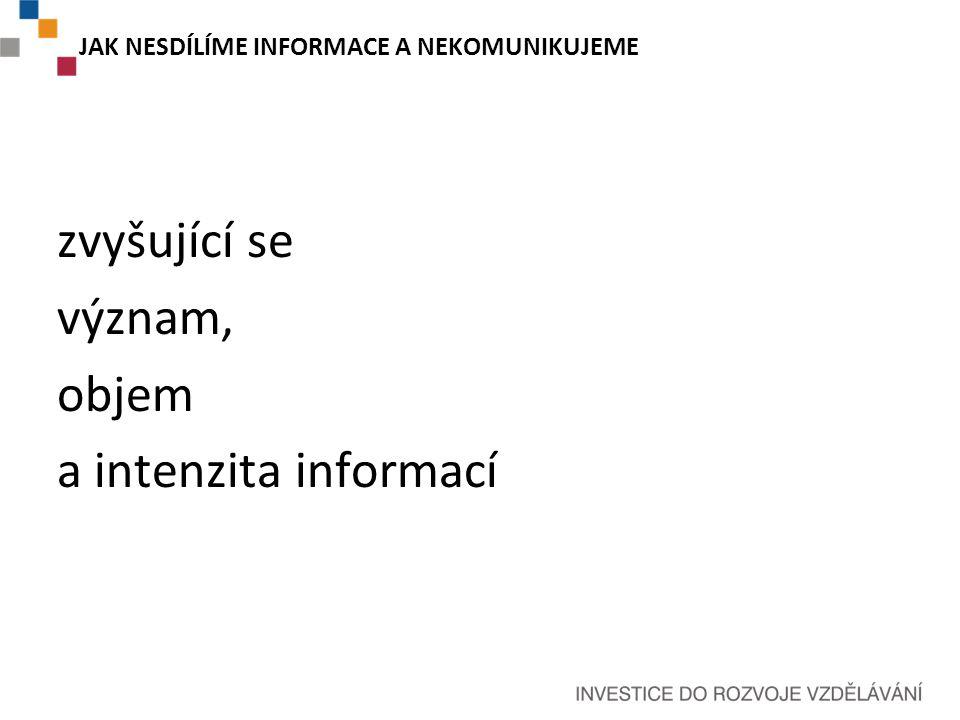 JAK NESDÍLÍME INFORMACE A NEKOMUNIKUJEME zvyšující se význam, objem a intenzita informací