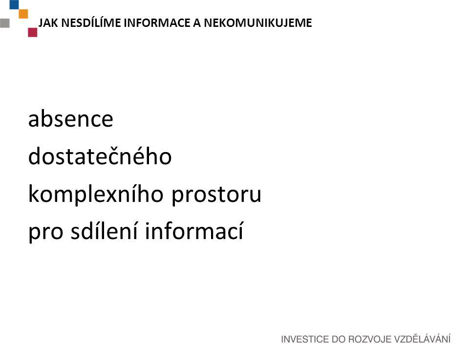 JAK NESDÍLÍME INFORMACE A NEKOMUNIKUJEME absence dostatečného komplexního prostoru pro sdílení informací