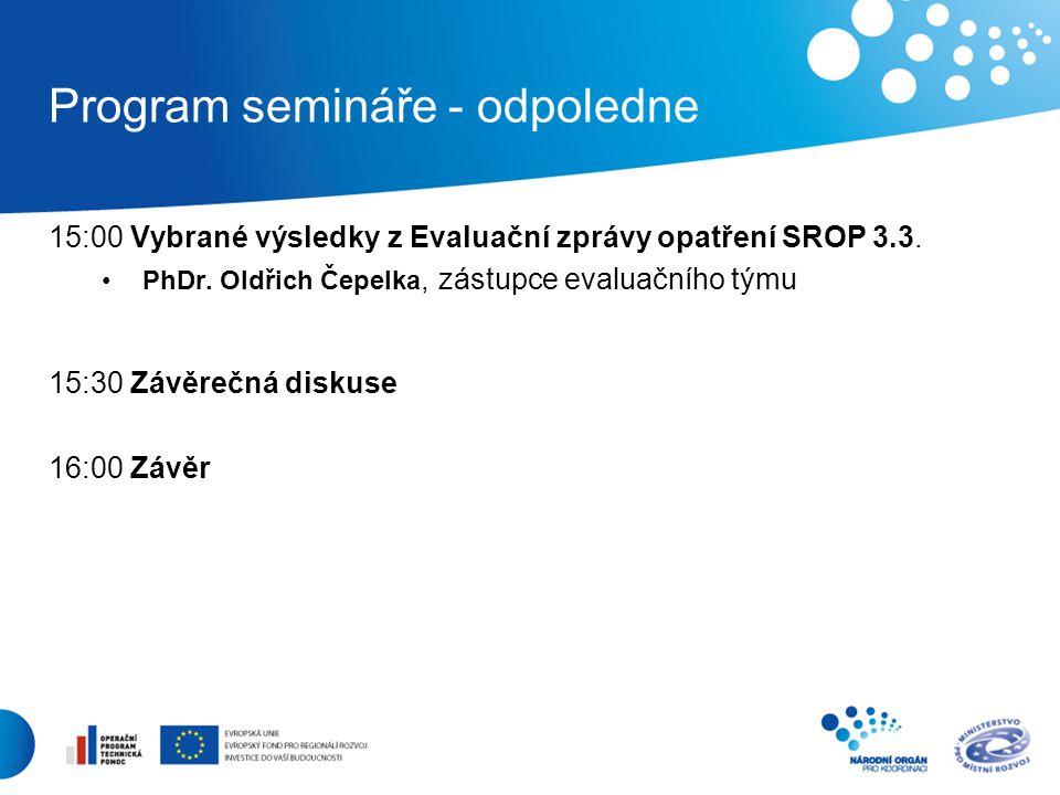 Program semináře - odpoledne 15:00 Vybrané výsledky z Evaluační zprávy opatření SROP 3.3.