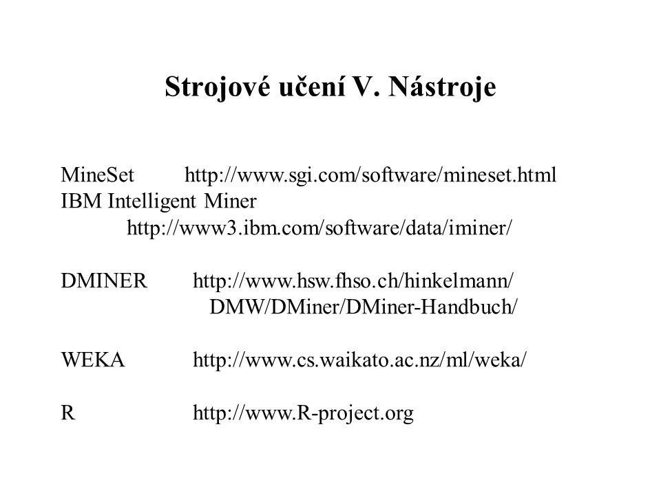 Strojové učení V. Nástroje MineSet http://www.sgi.com/software/mineset.html IBM Intelligent Miner http://www3.ibm.com/software/data/iminer/ DMINERhttp