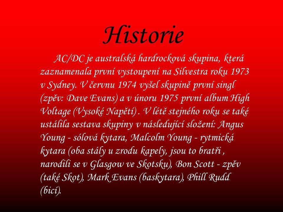 Historie AC/DC je australská hardrocková skupina, která zaznamenala první vystoupení na Silvestra roku 1973 v Sydney.