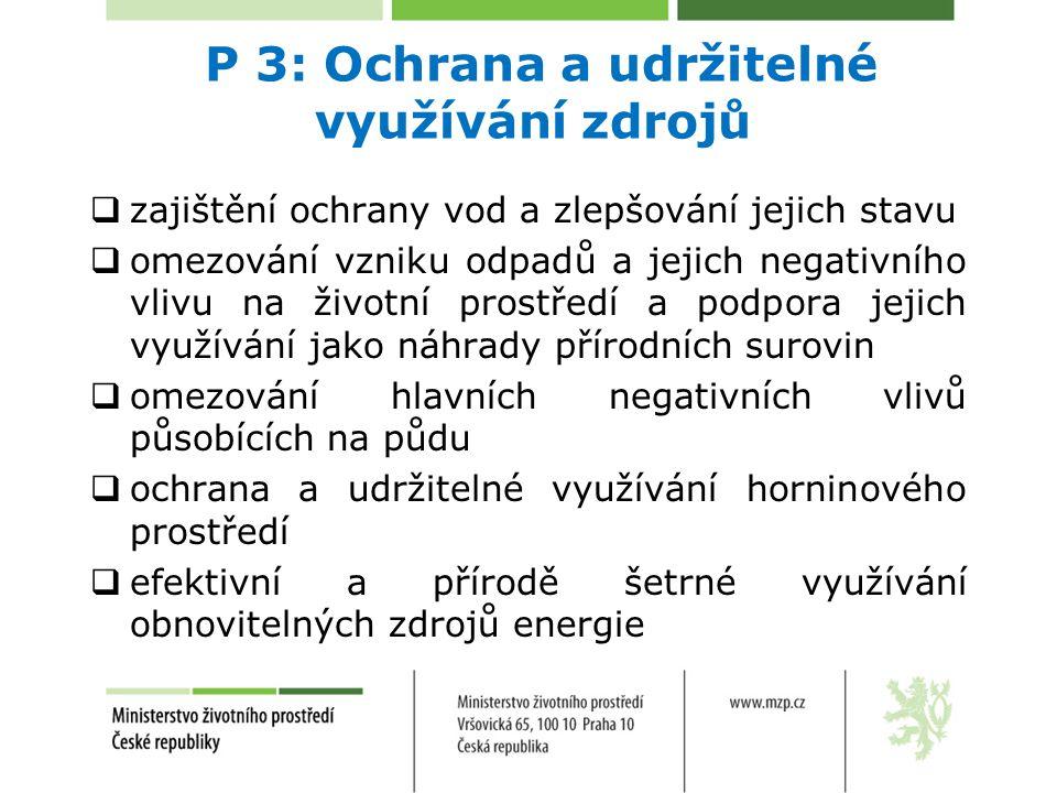 P 3: Ochrana a udržitelné využívání zdrojů  zajištění ochrany vod a zlepšování jejich stavu  omezování vzniku odpadů a jejich negativního vlivu na ž