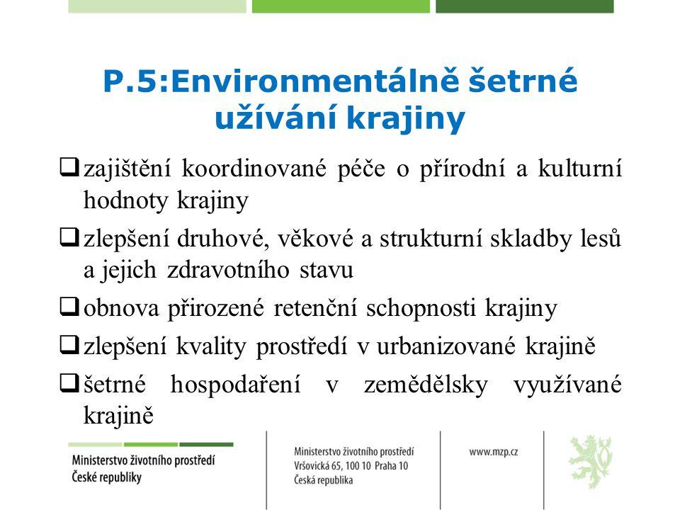P.5:Environmentálně šetrné užívání krajiny  zajištění koordinované péče o přírodní a kulturní hodnoty krajiny  zlepšení druhové, věkové a strukturní