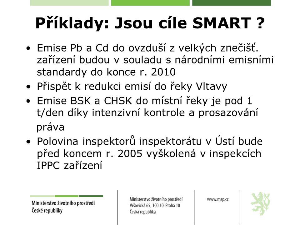 Příklady: Jsou cíle SMART ? Emise Pb a Cd do ovzduší z velkých znečišť. zařízení budou v souladu s národními emisními standardy do konce r. 2010 Přisp
