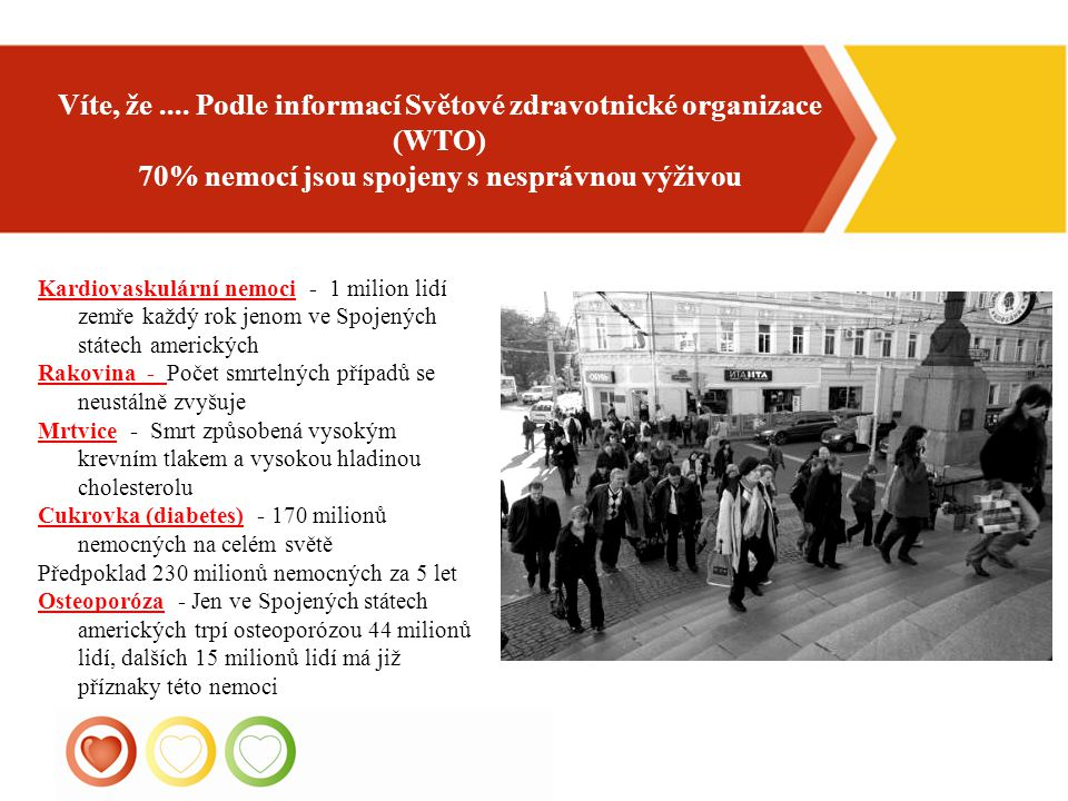 1 Víte, že.... Podle informací Světové zdravotnické organizace (WTO) 70% nemocí jsou spojeny s nesprávnou výživou Kardiovaskulární nemoci - 1 milion l