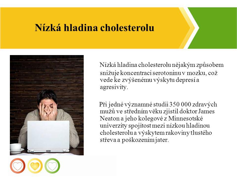 11 Nízká hladina cholesterolu nějakým způsobem snižuje koncentraci serotoninu v mozku, což vede ke zvýšenému výskytu depresí a agresivity. Při jedné v