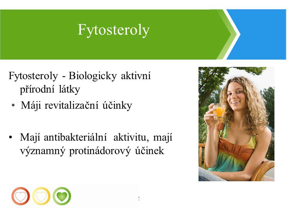 22 Fytosteroly - Biologicky aktivní přírodní látky Máji revitalizační účinky Mají antibakteriální aktivitu, mají významný protinádorový účinek Fytoste