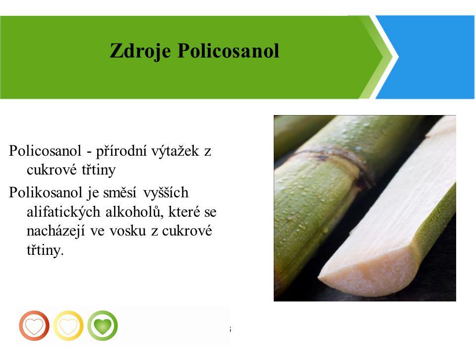 26 Policosanol - přírodní výtažek z cukrové třtiny Polikosanol je směsí vyšších alifatických alkoholů, které se nacházejí ve vosku z cukrové třtiny. Z