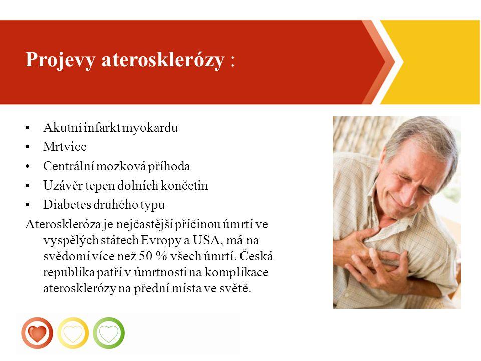 5 Akutní infarkt myokardu Mrtvice Centrální mozková příhoda Uzávěr tepen dolních končetin Diabetes druhého typu Ateroskleróza je nejčastější příčinou