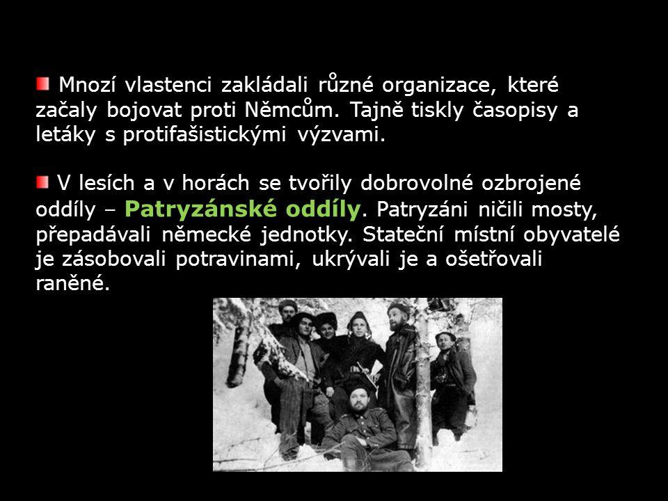 Mnozí vlastenci zakládali různé organizace, které začaly bojovat proti Němcům. Tajně tiskly časopisy a letáky s protifašistickými výzvami. V lesích a