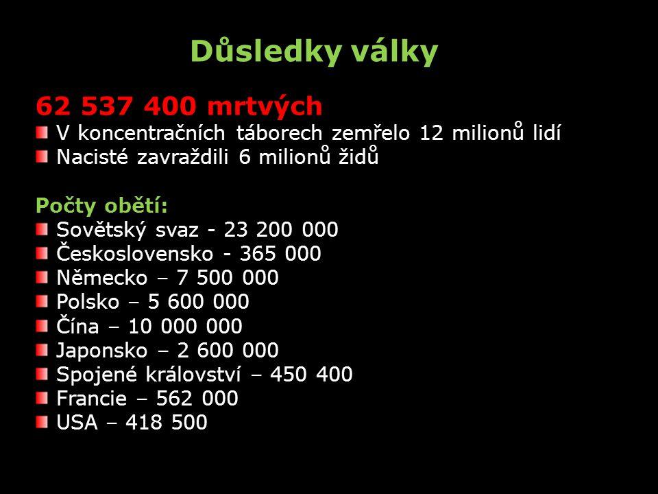62 537 400 mrtvých V koncentračních táborech zemřelo 12 milionů lidí Nacisté zavraždili 6 milionů židů Počty obětí: Sovětský svaz - 23 200 000 Českosl