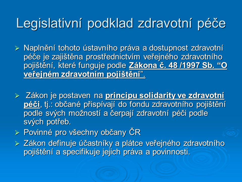 Legislativní podklad zdravotní péče  Naplnění tohoto ústavního práva a dostupnost zdravotní péče je zajištěna prostřednictvím veřejného zdravotního p
