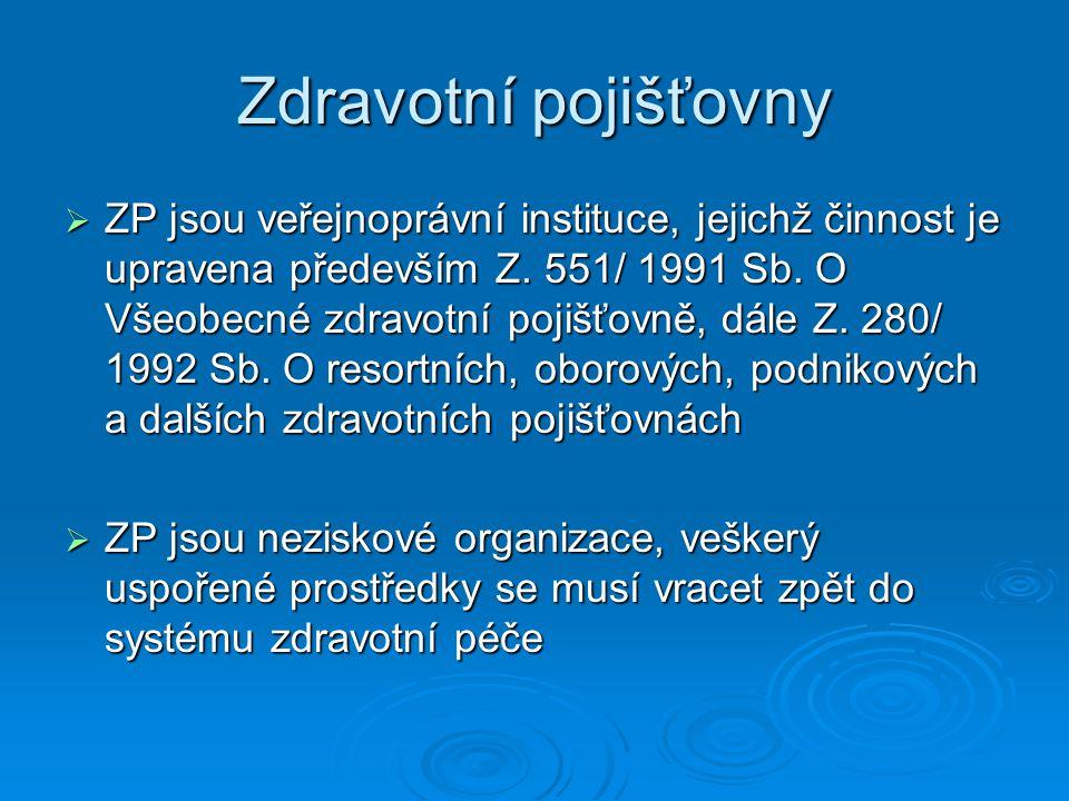Zdravotní pojišťovny  ZP jsou veřejnoprávní instituce, jejichž činnost je upravena především Z. 551/ 1991 Sb. O Všeobecné zdravotní pojišťovně, dále