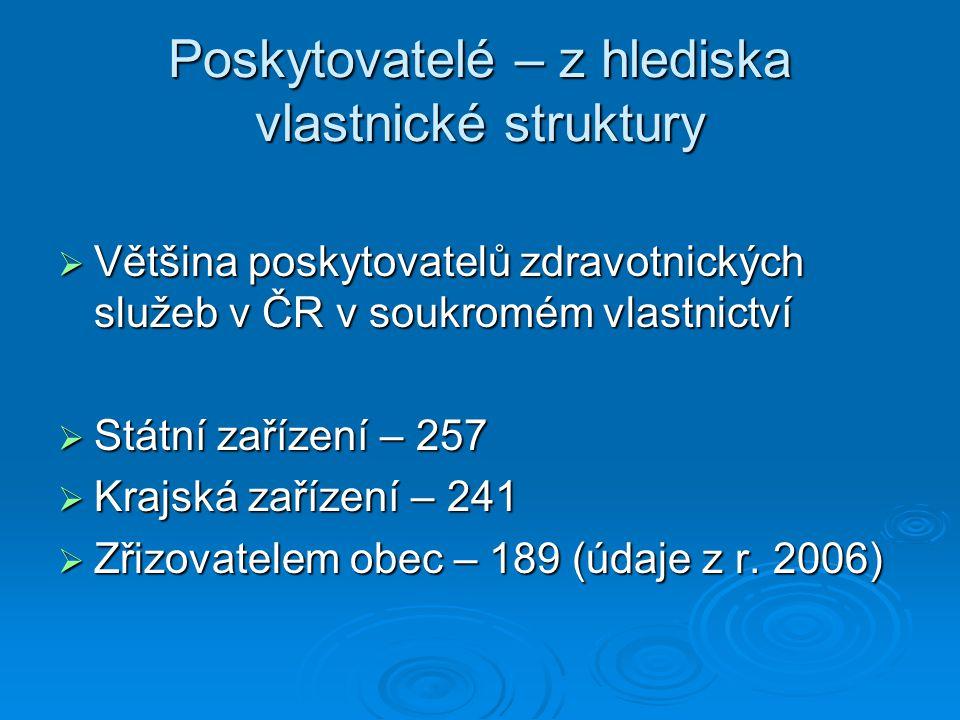 Poskytovatelé – z hlediska vlastnické struktury  Většina poskytovatelů zdravotnických služeb v ČR v soukromém vlastnictví  Státní zařízení – 257  K