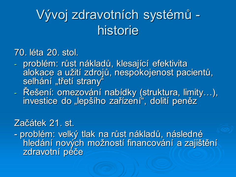 Vývoj zdravotních systémů - historie 70. léta 20. stol. - problém: růst nákladů, klesající efektivita alokace a užití zdrojů, nespokojenost pacientů,