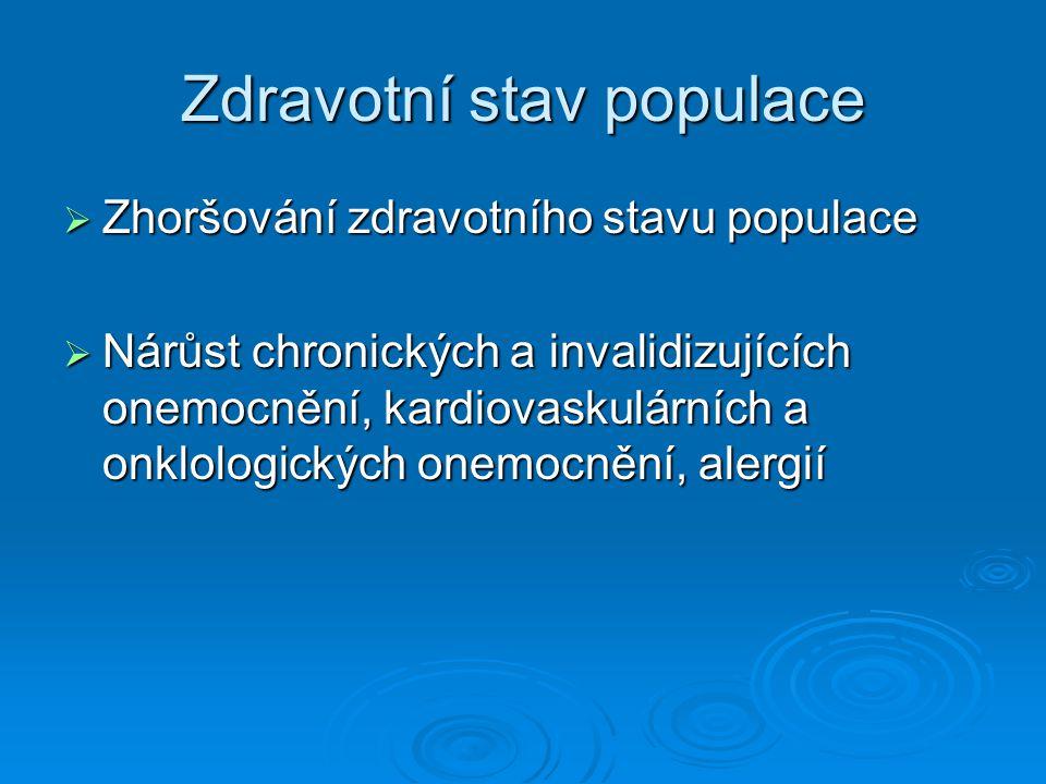 Zdravotní stav populace  Zhoršování zdravotního stavu populace  Nárůst chronických a invalidizujících onemocnění, kardiovaskulárních a onklologickýc