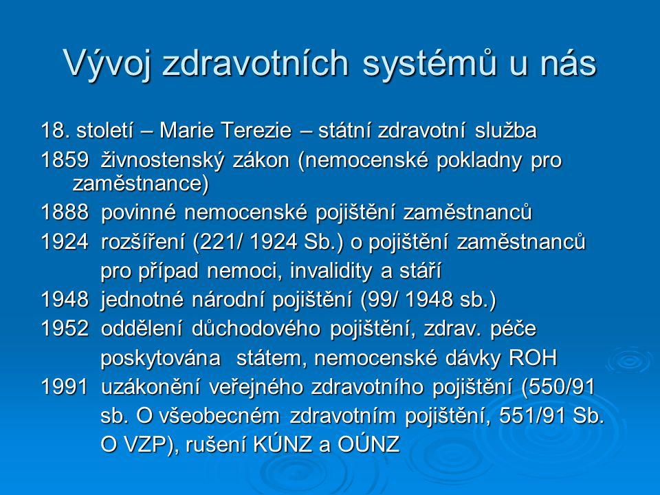 Vývoj zdravotních systémů u nás 18. století – Marie Terezie – státní zdravotní služba 1859 živnostenský zákon (nemocenské pokladny pro zaměstnance) 18