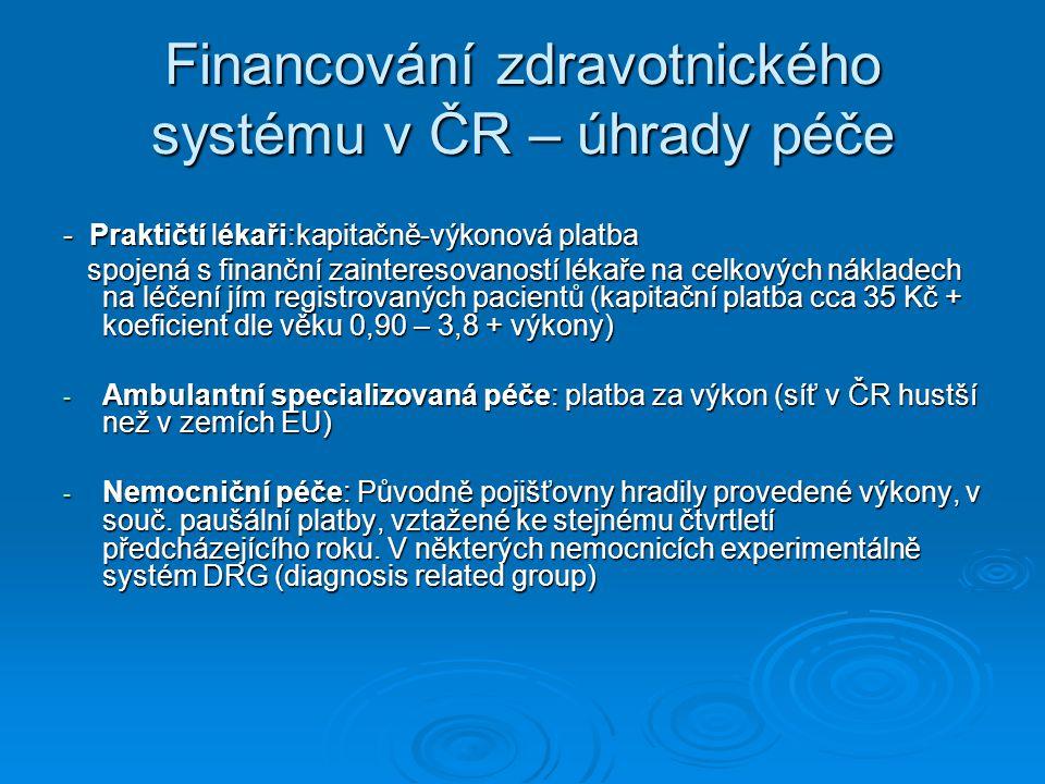 Financování zdravotnického systému v ČR – úhrady péče - Praktičtí lékaři:kapitačně-výkonová platba spojená s finanční zainteresovaností lékaře na celk