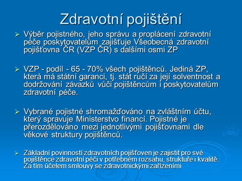 Zdravotní pojištění  Výběr pojistného, jeho správu a proplácení zdravotní péče poskytovatelům zajišťuje Všeobecná zdravotní pojišťovna ČR (VZP ČR) s