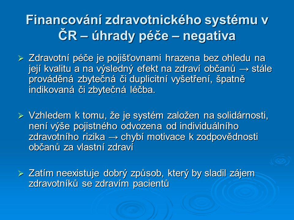 Financování zdravotnického systému v ČR – úhrady péče – negativa  Zdravotní péče je pojišťovnami hrazena bez ohledu na její kvalitu a na výsledný efe