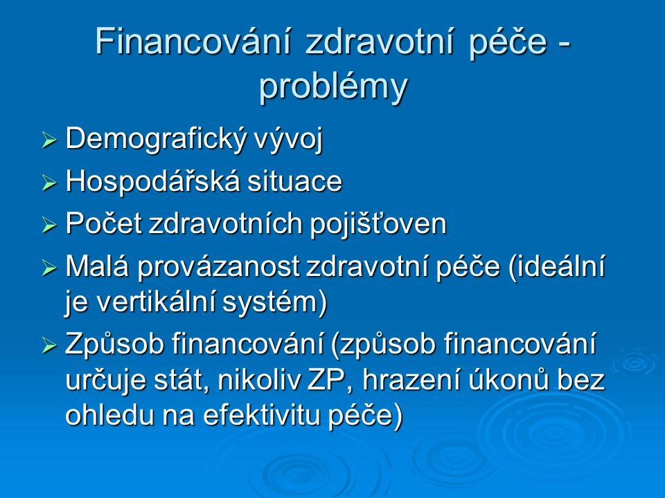 Financování zdravotní péče - problémy  Demografický vývoj  Hospodářská situace  Počet zdravotních pojišťoven  Malá provázanost zdravotní péče (ide