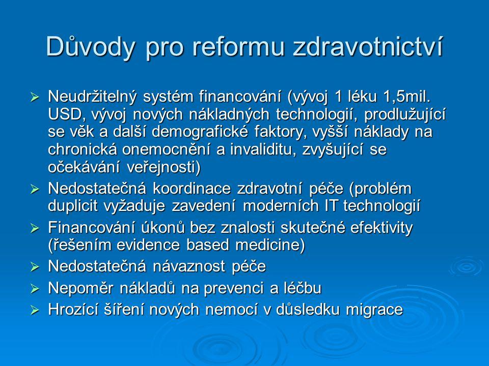 Důvody pro reformu zdravotnictví  Neudržitelný systém financování (vývoj 1 léku 1,5mil. USD, vývoj nových nákladných technologií, prodlužující se věk